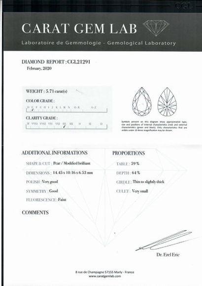Diamant de forme poire sur papier accompagné: D'un rapport d'analyse du G.I.A n°10630010...