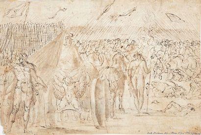 École ITALIENNE du XVIe siècle Scènes de bataille Plume, lavis, dessin double face....