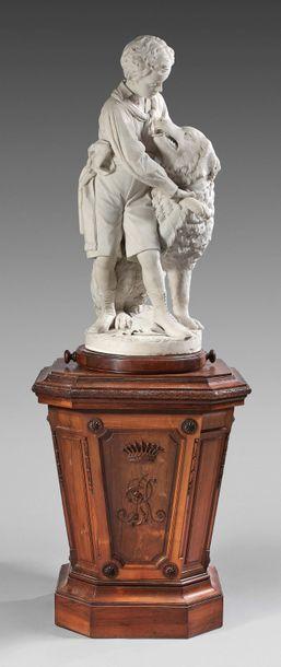 Enrico PAZZI (1819-1899) Portrait en pied présumé de Giulio Rasponi enfant, jouant...