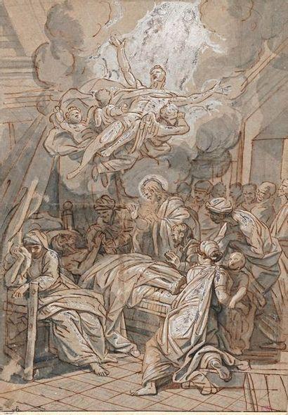 Jean JOUVENET (1644-1717) La mort de Saint Joseph Plume, lavis de bistre et rehauts...