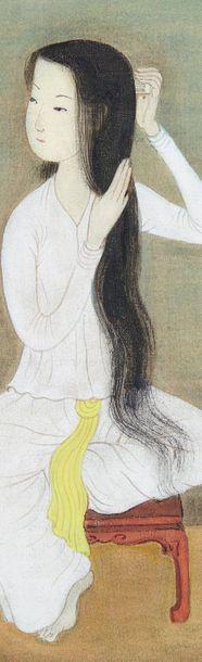 MAI-THU (1906-1980) Jeune femme à sa coiffure Peinture, encre de couleurs sur soie,...
