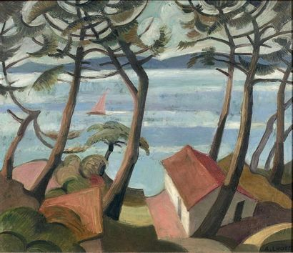 André LHOTE (1885-1962) Les pins maritimes, vers 1910 Huile sur panneau, signée et...