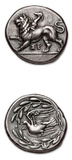 PÉLOPONNÈSE Sicyone (430-390 av. J.-C.) Statère. 12,24 g. Chimère marchant à gauche....