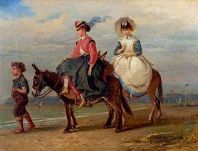 François Louis LANFANT DE METZ (1814-1892) Promenade à ânes Oil on panel, signed...