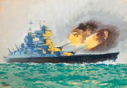 Albert BRENET (1903-2005) Battleship Gouache, signed lower left. 45,5 x 66,5 cm