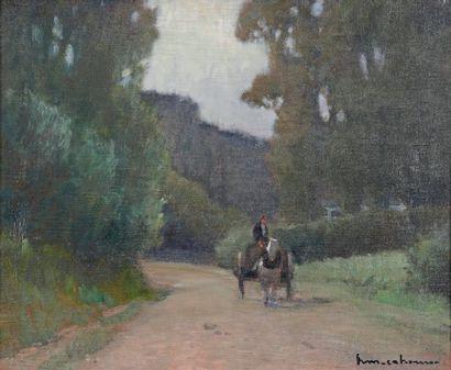 Henri Maurice CAHOURS (1899-1974) Attelage Huile sur toile, signée en bas à droite....