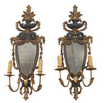 -Paire d'appliques, Italie XIXeme siècle...