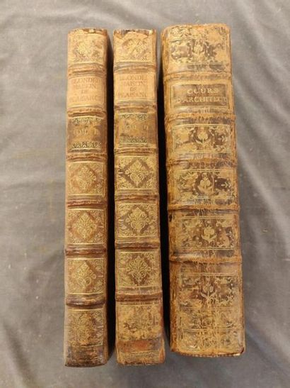 ARCHITECTURE. XVIIIe siècle 3 volumes in-4, bound. AVILER (Augustin-Charles d')....
