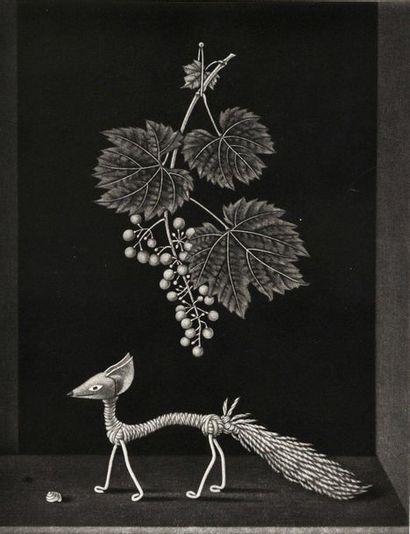 KIYOSHI HASEGAWA Le Renard et les raisins (Les Fables de La Fontaine), 1963, manière...