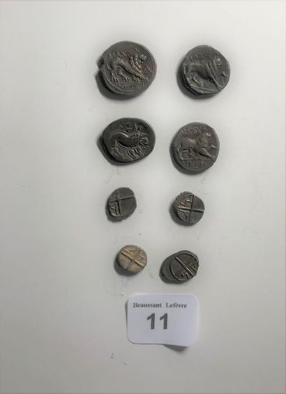 MARSEILLE: Drachma: 4 various copies with the lion. Obole: 4 various copies with...
