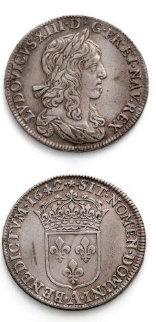 Demi écu, 1er poinçon de Warin. 1642. Paris....