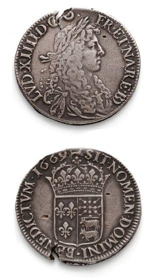 Écu de Béarn au buste juvénile. 1669. Pau....