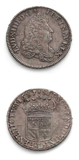 Demi écu de Flandre. 1687. Lille. Var. petit...