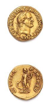 VESPASIEN (69-79) Auréus. Lyon (70). 7,25 g. Sa tête laurée à droite. R/ La Fortune...