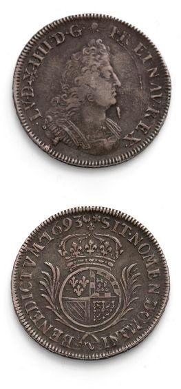 Demi écu de Flandre aux palmes. 1693. Lille....