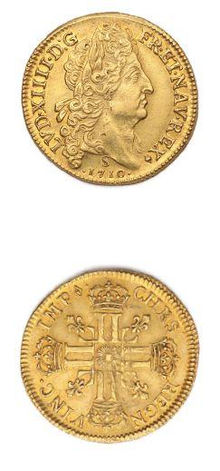 Double louis d'or au soleil. 1710. Reims....