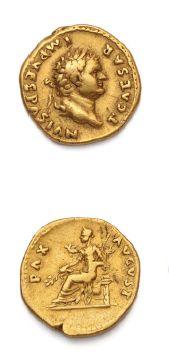 TITUS (79-81) Auréus. Rome. Sa tête laurée...