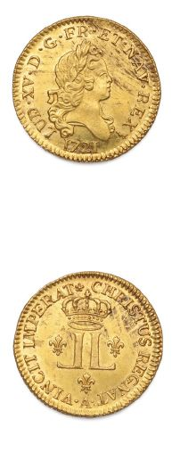 Louis d'or aux deux L. 1721. Paris. Flan...