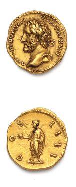 ANTONIN, le Pieux (138-161) Auréus. Rome (153-154). Sa tête laurée à gauche. R/...