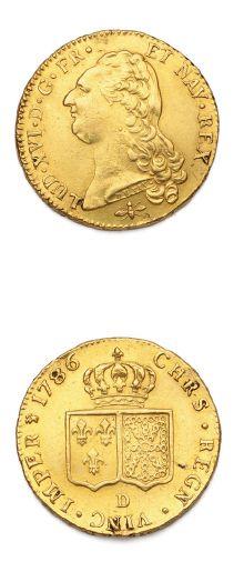 Double louis d'or au buste nu. 1786. Lyon....