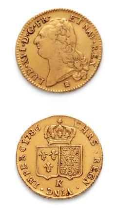 Double louis d'or au buste nu. 1786. Bordeaux....