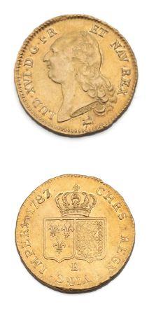 Double louis d'or au buste nu. 1787. Rouen....