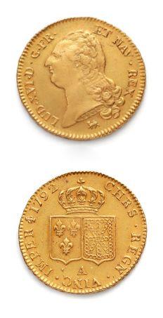 Double louis d'or au buste nu. 1792. Paris....