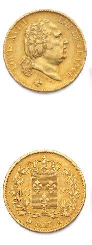 LOUIS XVIII (1815-1824) 40 francs or. 1817....