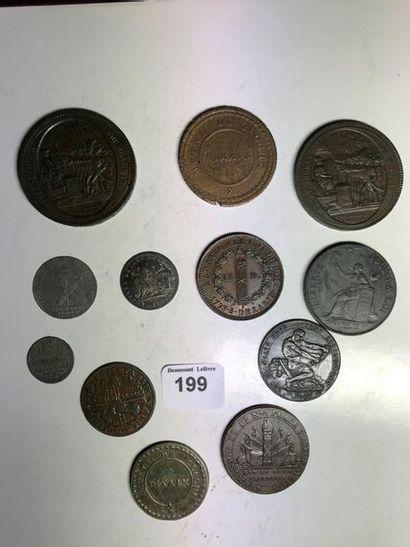 PÉRIODE RÉVOLUTIONNAIRE: 12 monnaies variées,...