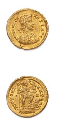 HONORIUS (393-493) Solidus. Milan (402-403)....