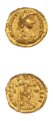 VALENTINIEN III (425-455) Solidus. Ravenne (426-455). 4,44 g. Son buste diadémé,...