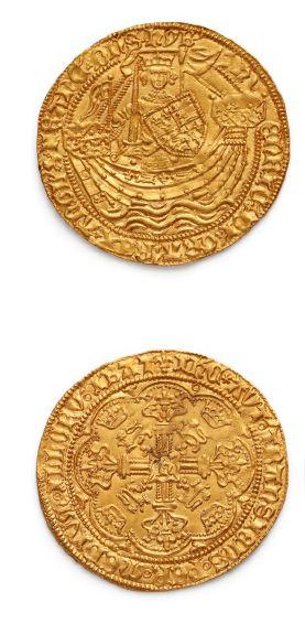 Henri VI (1422-1461) Noble d'or. Calais....