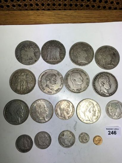 5 francs: 5 exemplaires variés du XIXe siècle....