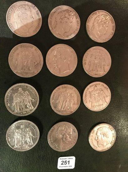 Lot de 10 pièces de 5 francs XIXe siècle...