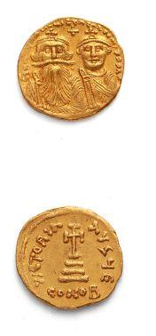 HÉRACLIUS et HÉRACLIUS CONSTANTIN (613-638) Solidus. Constantinople. 4,43 g. Leurs...