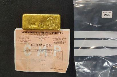 Lingot d'or: poids brut 999,7 g, poids or...