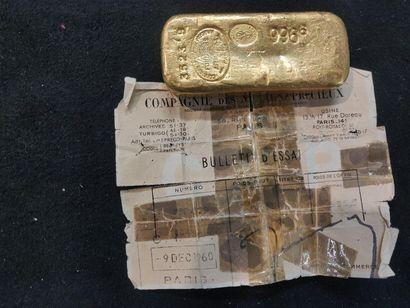 Lingot d'or: poids brut 996,6 g, poids or...