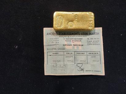 Lingot d'or: poids brut 999,6 g, poids or...
