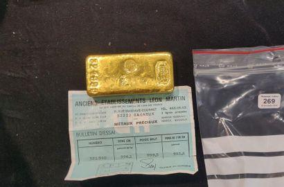 Lingot d'or: poids brut 999,5 g, poids or...