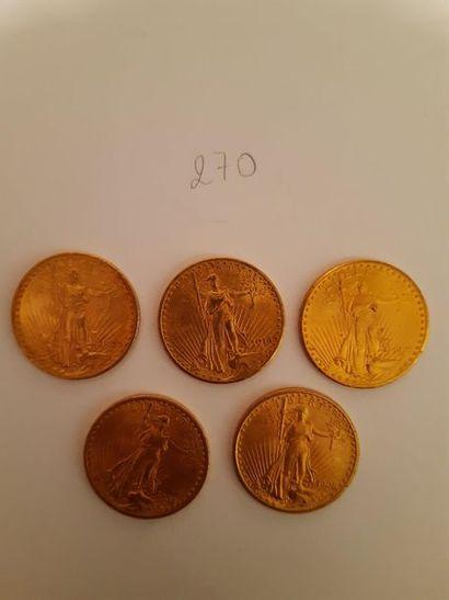 20 dollars: 5 exemplaires type Saint Gaudens...