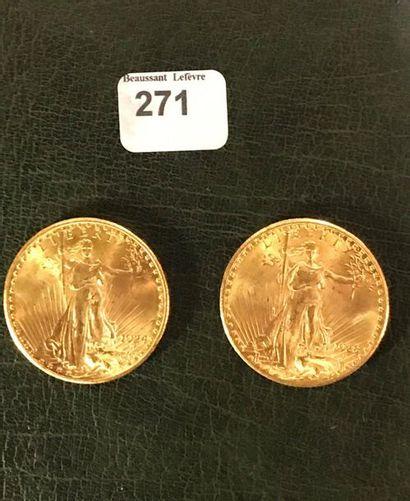 20 dollars: 2 exemplaires type Saint Gaudens...