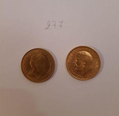 Pays-Bas: 10 gulden (1912); Grande-Bretagne:...
