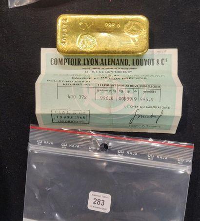 Lingot de 999,9g d'or.n°400372 avec certificat...