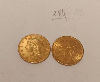Deux pièces de 20$ US en or (1895, 1904)....