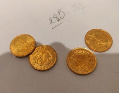 Vingt-trois pièces de 20F suisse en or (états...