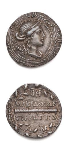 Macedonia under Roman rule (2nd century BC) Tetradrachma. 16,82 g. Amphipolis. Bust...