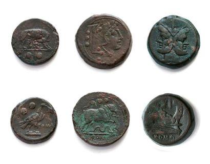 10 bronzes variés: dupondius - triens (280-269...