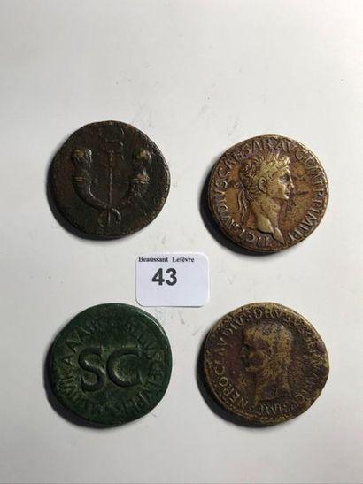 Sesterce: 4 exemplaires. Auguste - Drusus - Néron Drusus - Claude. Revers variés....
