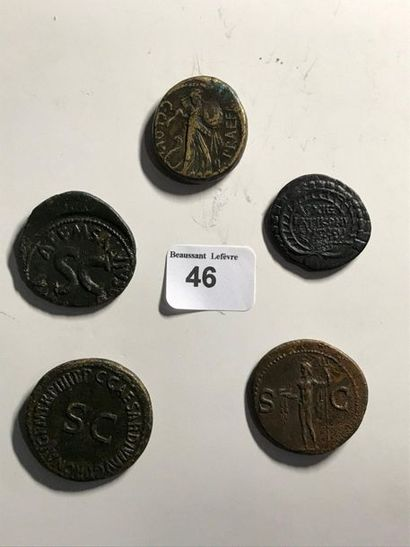 Moyen bronze: 5 exemplaires. Jules César - Auguste - Agrippa - Néron - Drusus. Revers...