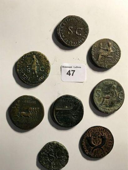 Moyen bronze: 8 exemplaires. Pompée - Aguste - Livie - Antonia - Tibère - Germanicus...